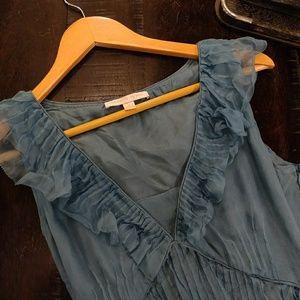 Rebecca Taylor silk aqua cocktail dress 4